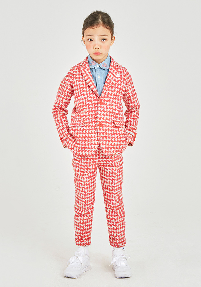 Hound tooth check suit_Orange_Kids