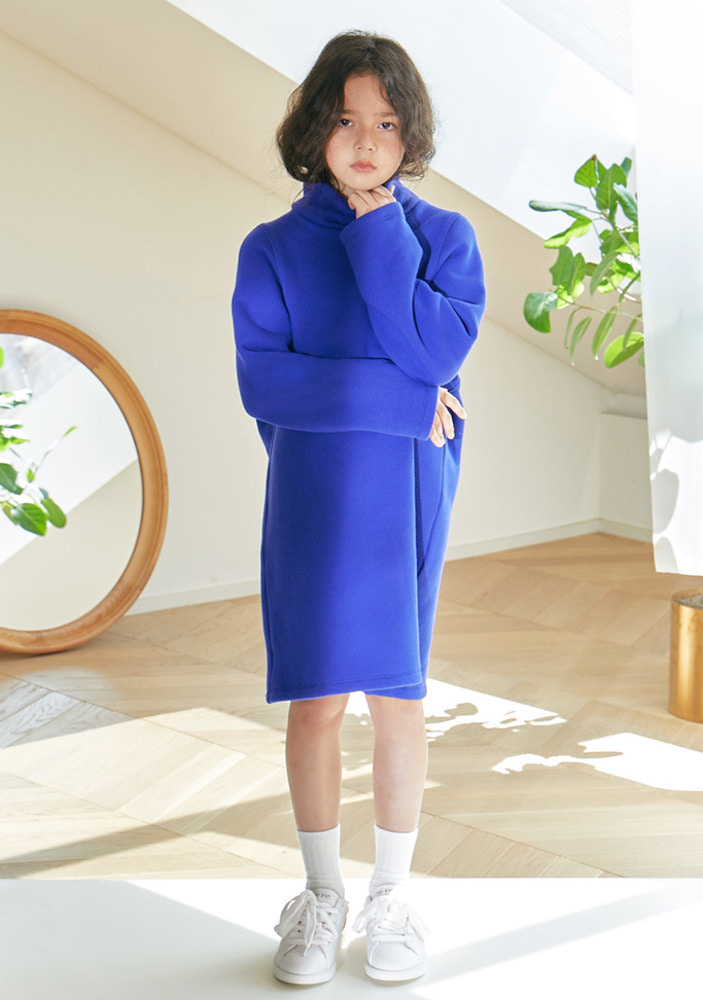 Cotton Turtleneck Dress_Blue_kids