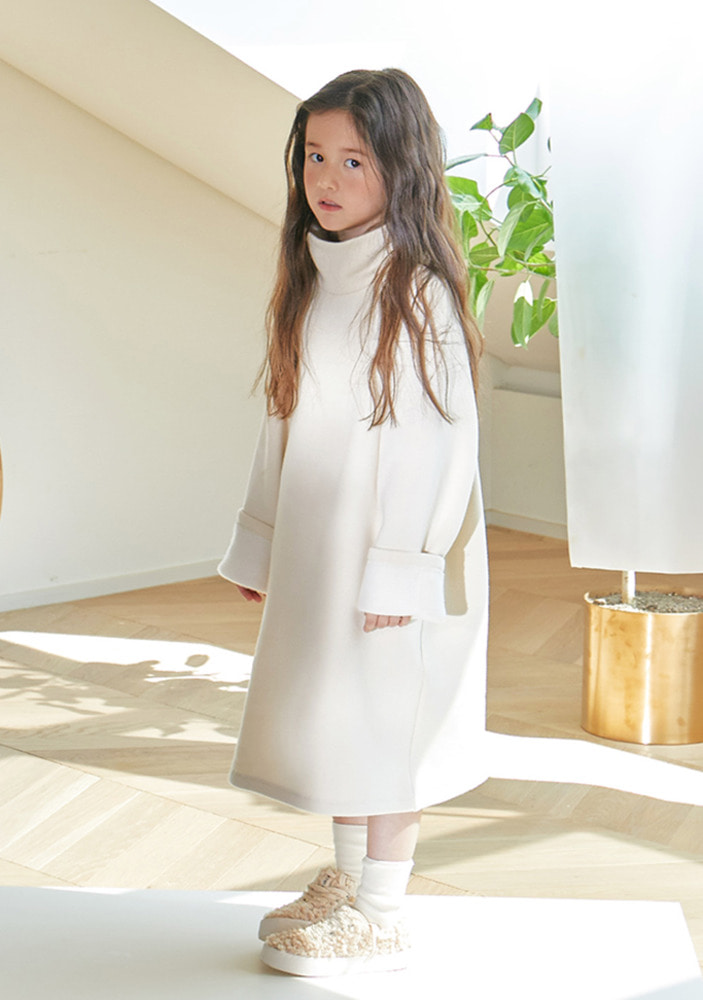 Cotton Turtleneck Dress_Ivory_kids