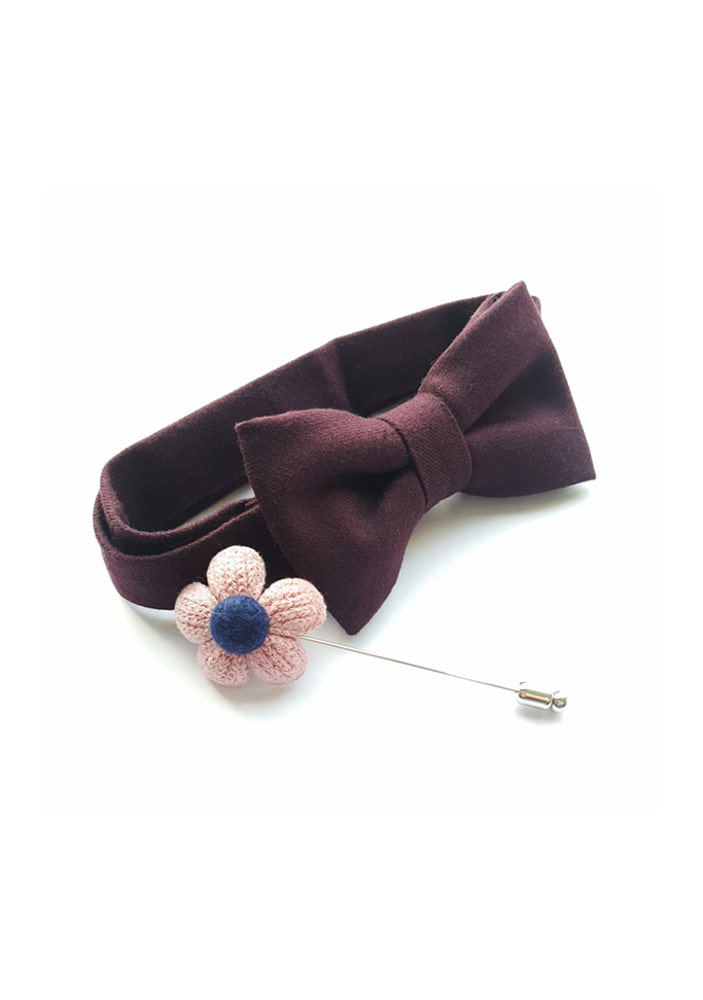 Flower point bowtie & boutonniere set_burgundy