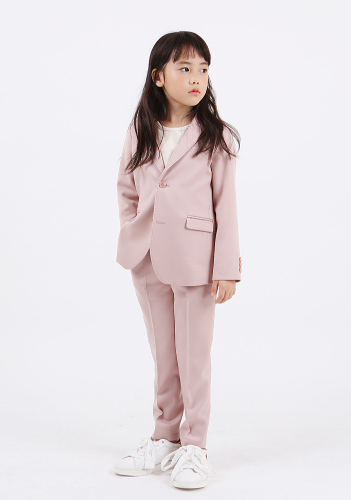 Wool Single Breasted Suit_Pink_Kids