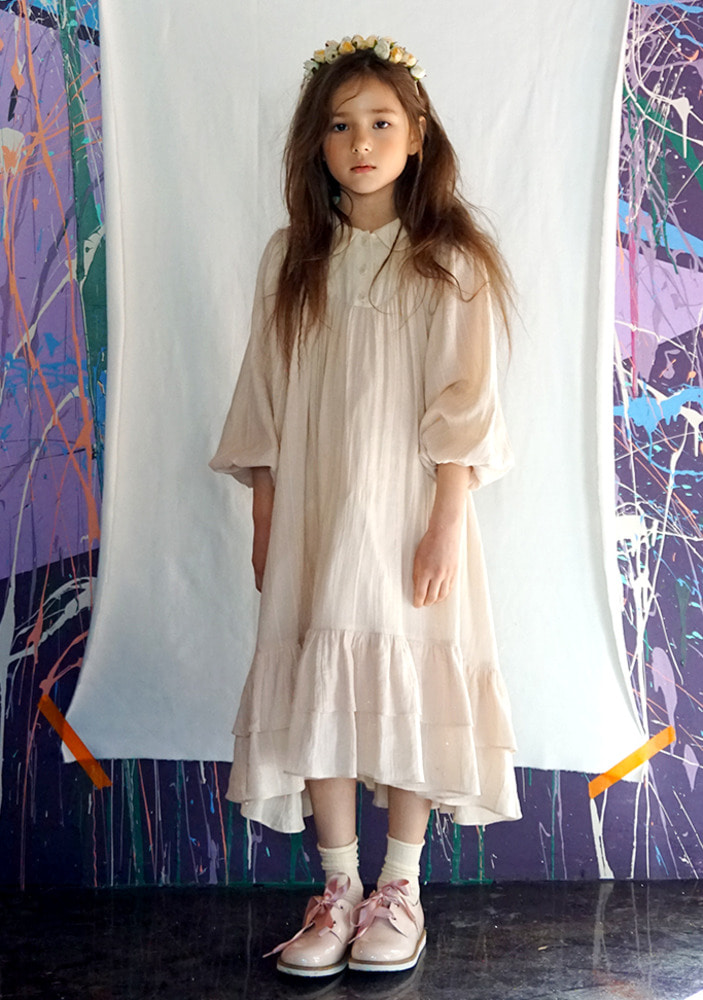 Double Shirring Dress_Ivory_kids