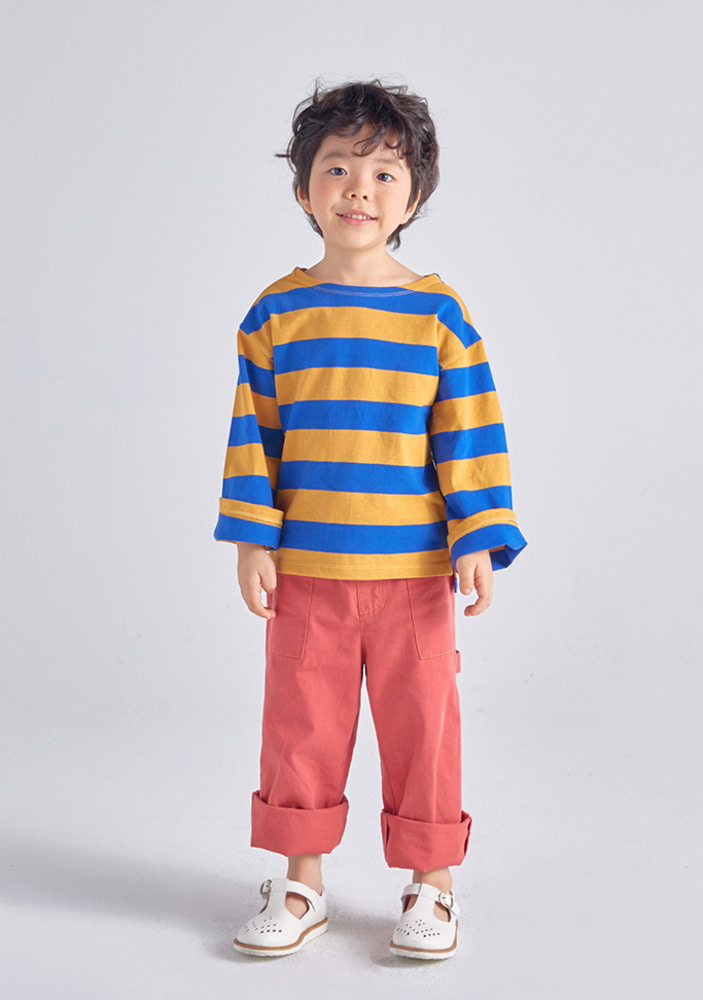 Stripe Overfit T-Shirt_Yellow_Kids