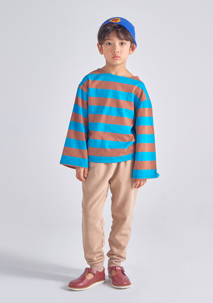 Stripe Overfit T-Shirt_Brown_Kids