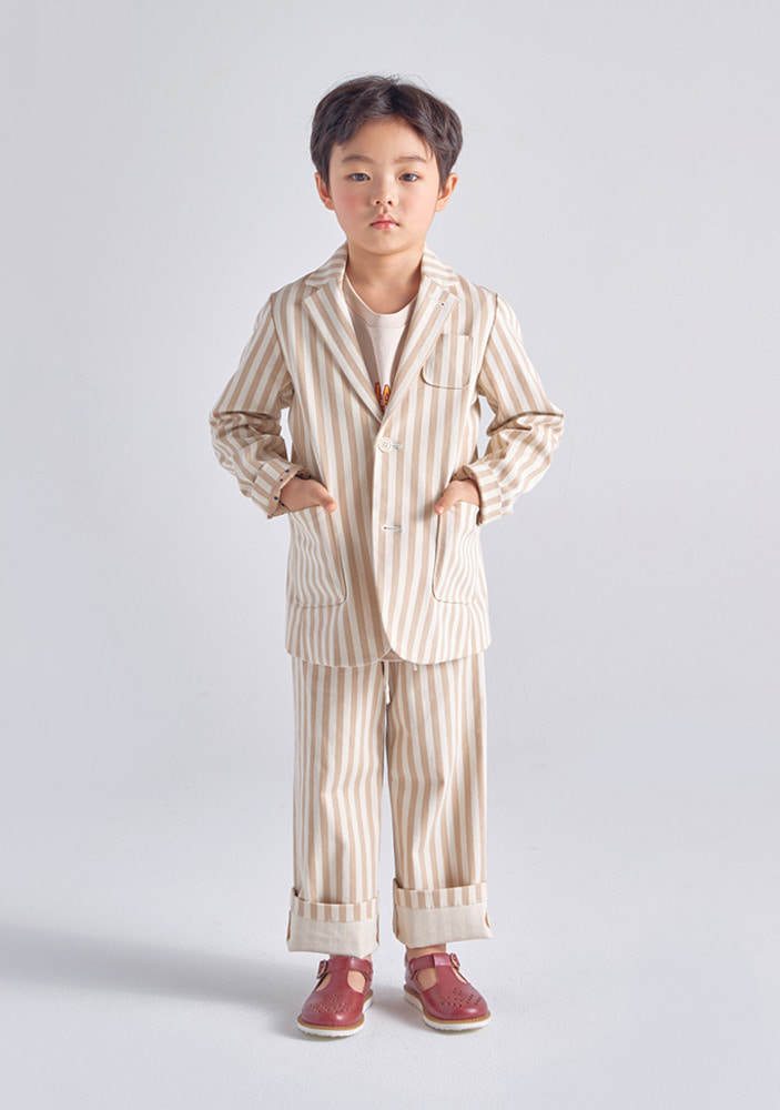 Striped Cotton Suit_Beige_Kids