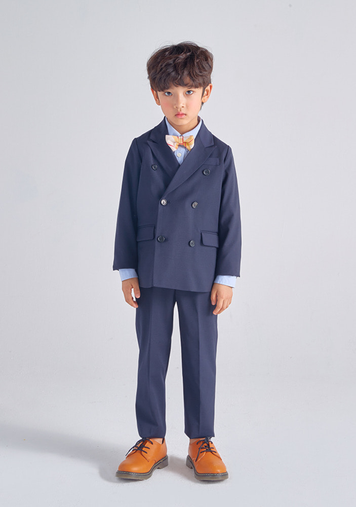 Wool Double Breasted Suit_Navy_Kids