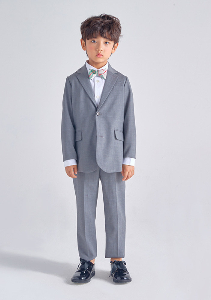 Wool Single Breasted Suit_Grey_Baby