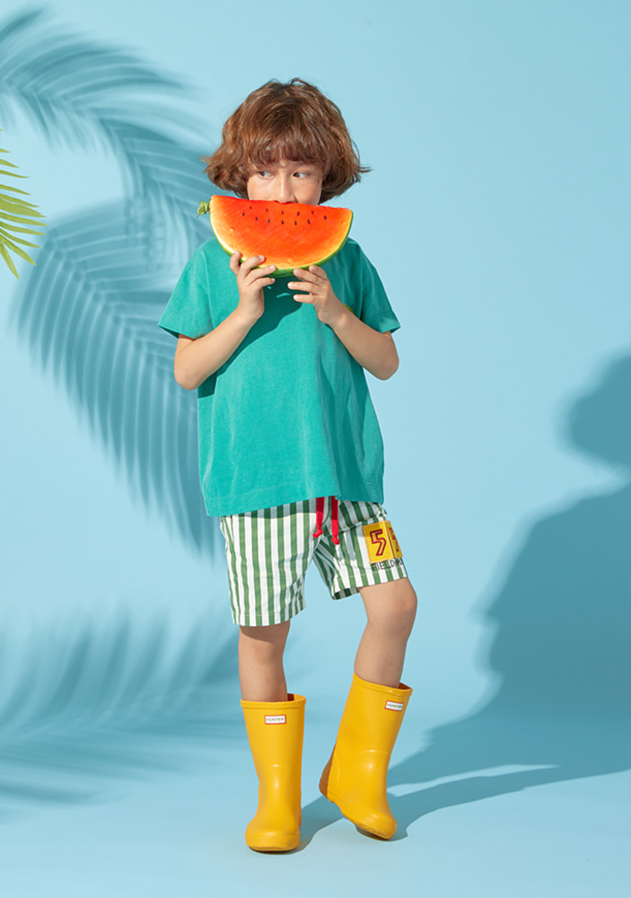 Stripe 55 Shorts_Green_Kids