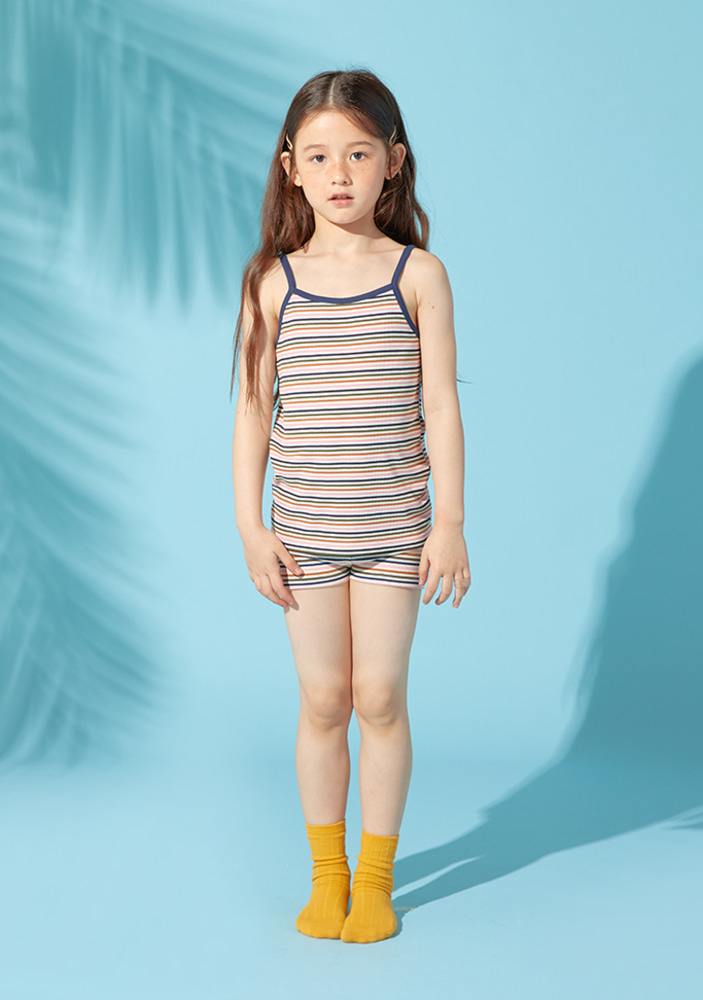 Stripe top & shorts_Pink_kids