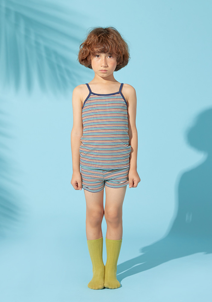 Stripe top & shorts_Navy_kids