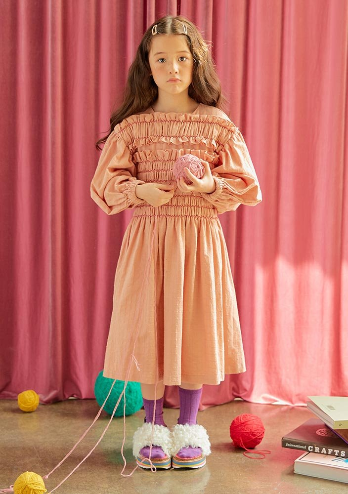 Princess Shirring Dress_Kids_Pink_#2