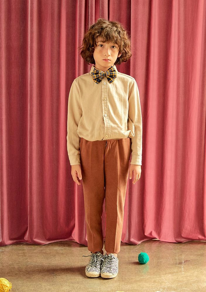 Button-down Cotton Shirt_Kids_Beige_#2