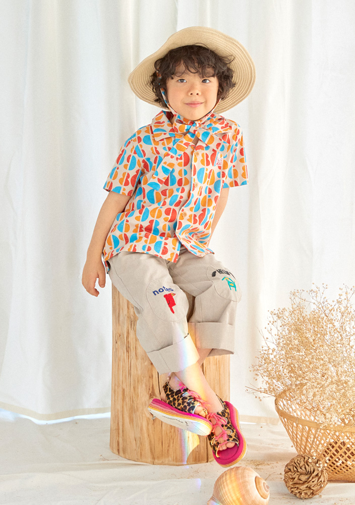 Rainbow Cotton Shirt_Kids_Beige
