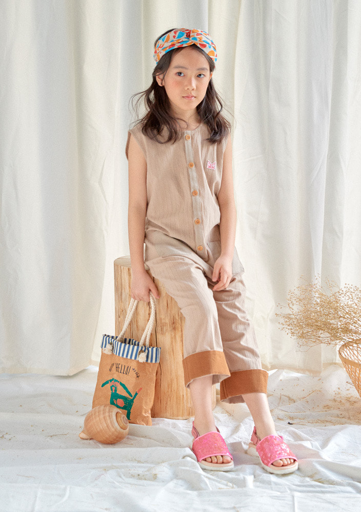 Sleeveless Jumpsuit_Kids_Beige