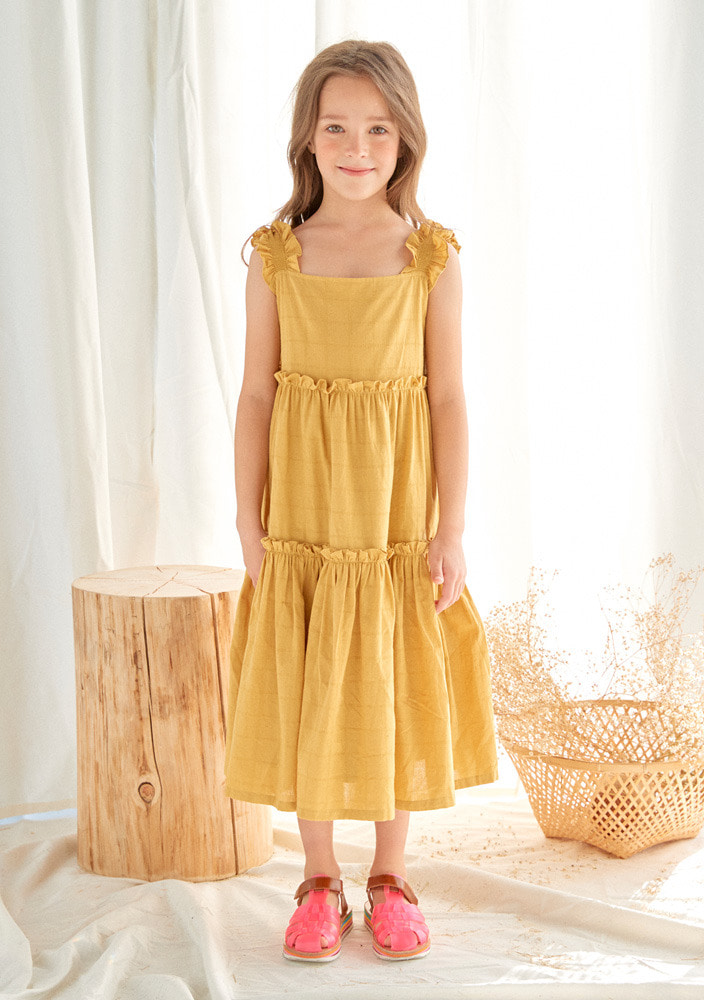 Gracia Frill Dress_Baby_Mustard