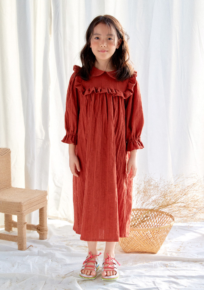 Grace frill dress_baby_brick