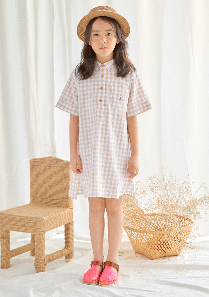 Gingham pullover dress_Baby_Beige