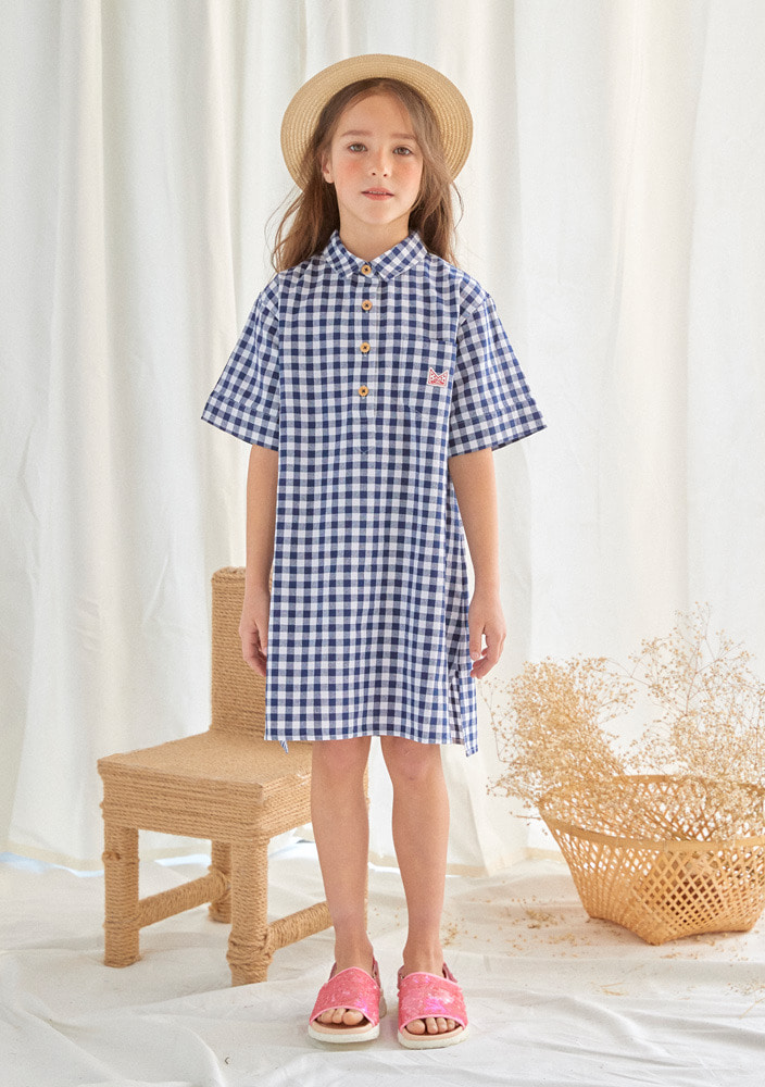 Gingham pullover dress_Baby_Navy