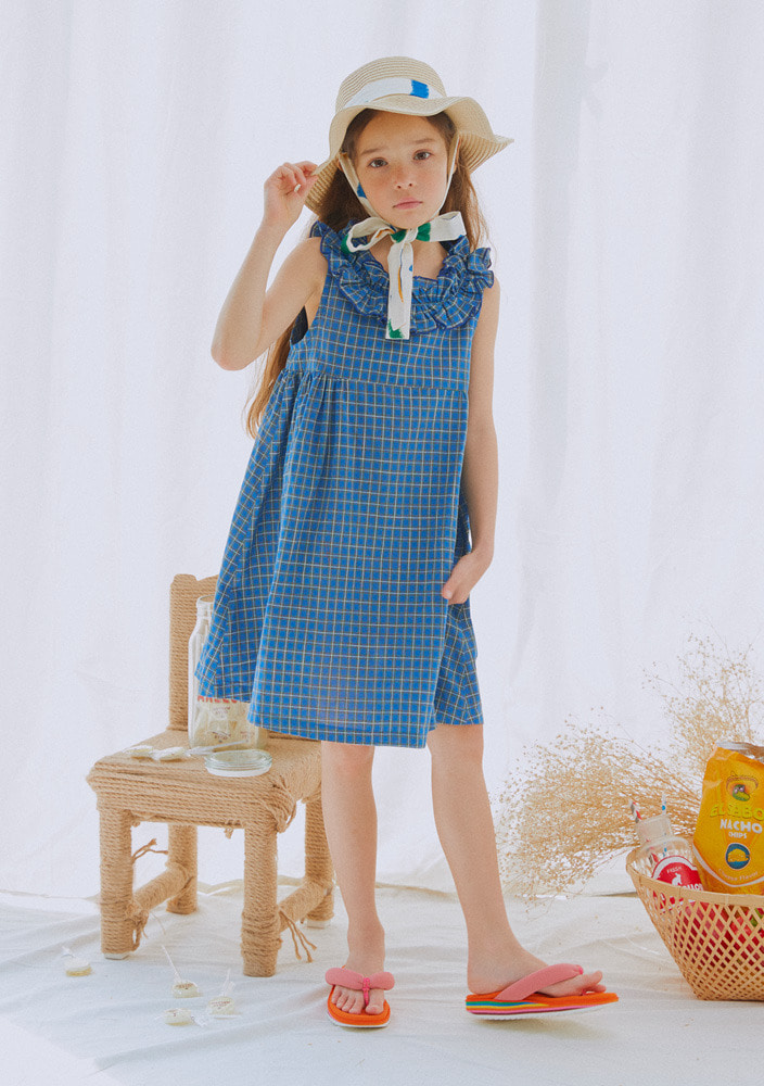 Blue Check Frill Dress_Baby