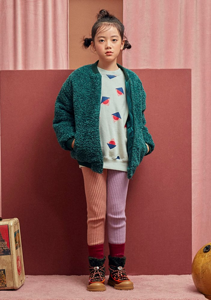 VIVID SHEARLING BOMBER_Kids_Green