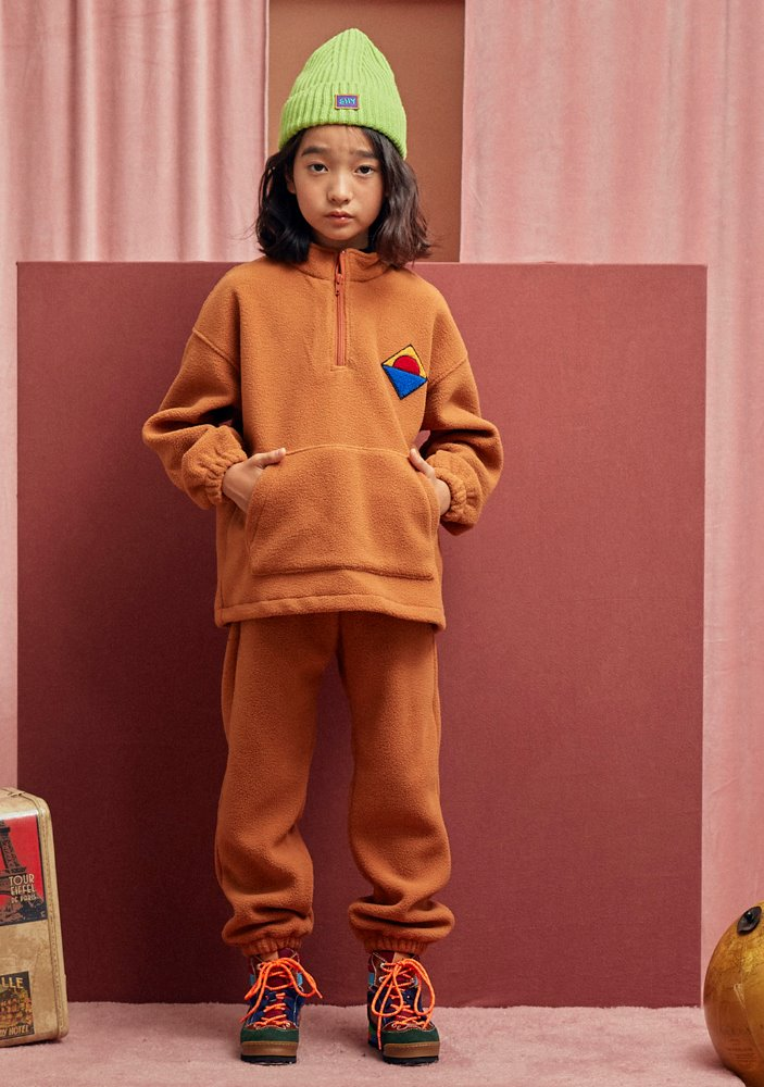HALF-ZIP SWEATSHIRT & LOUNGE PANTS_Beige_Kids