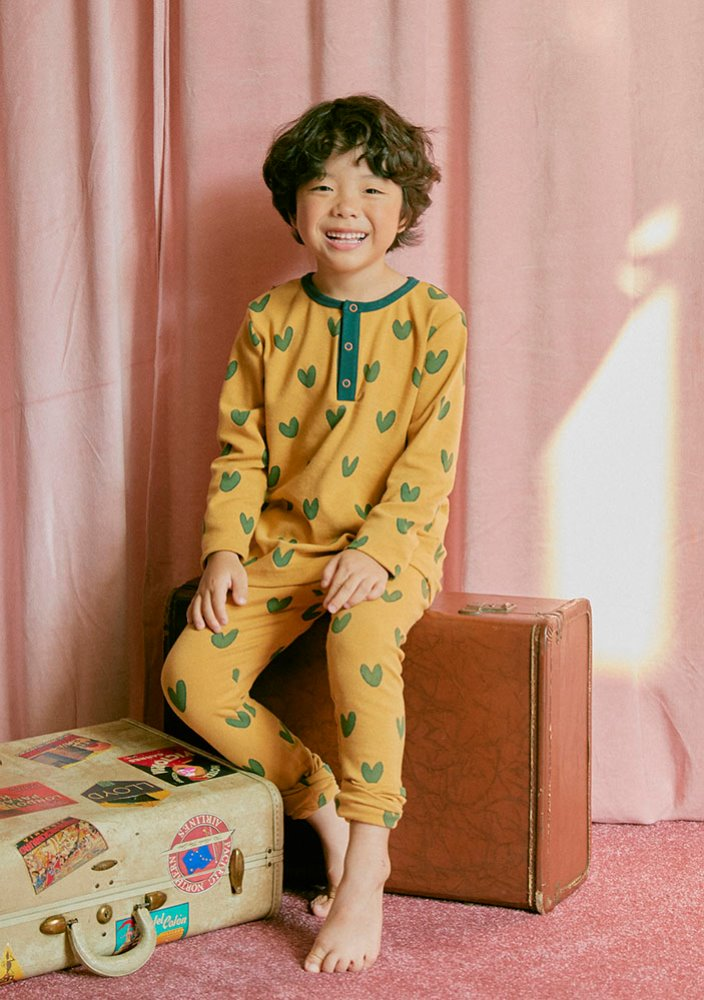 HENLEY NECK HEART SET_Kids_Mustard & Green_#2