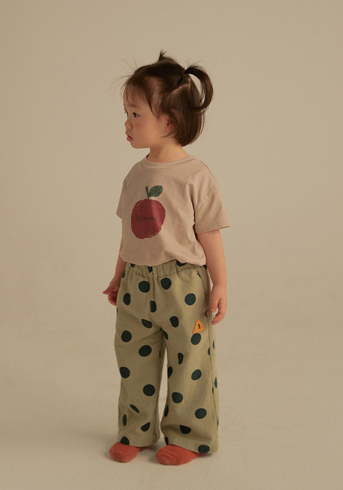 DOTTED GABARDINE COTTON PANTS_Baby_Olive Green