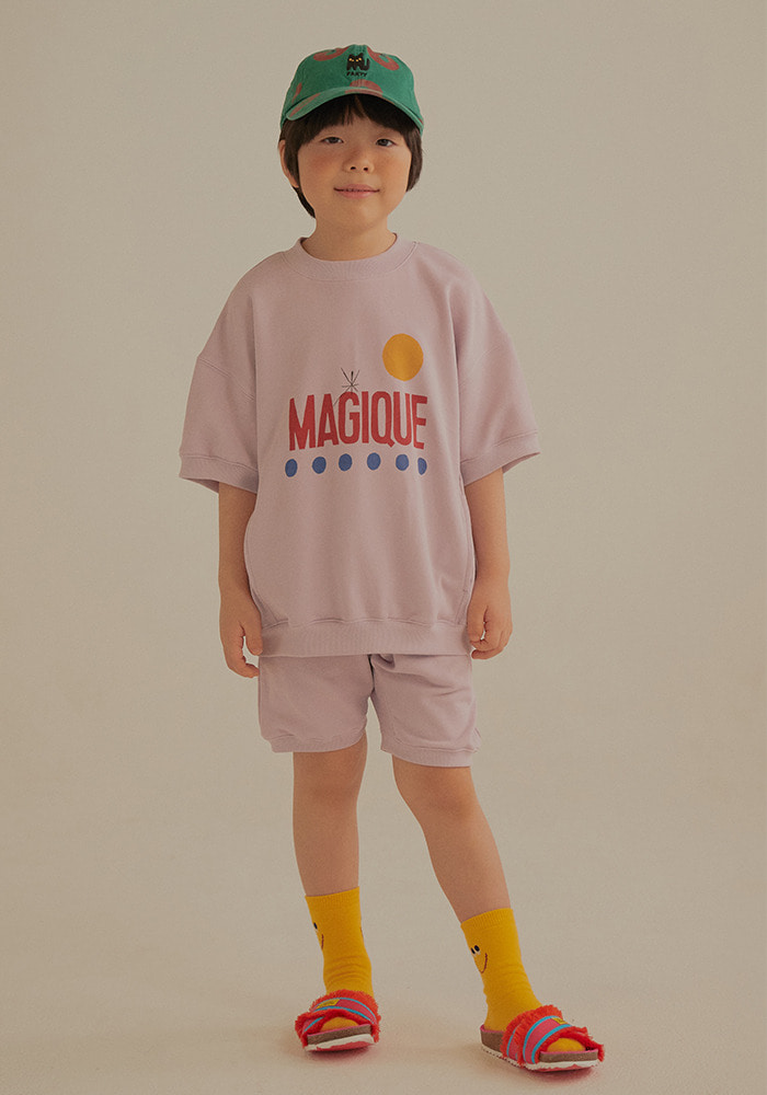SHORT SLEEVE SWEATSHIRT SET_Purple_Kids