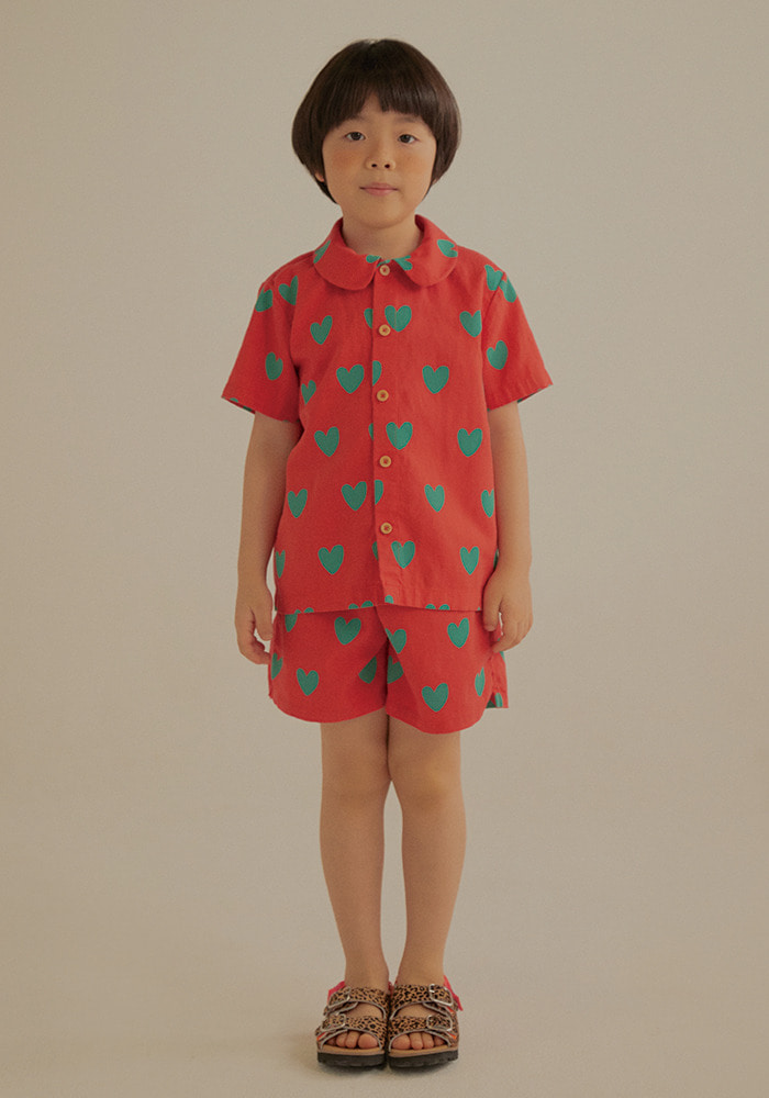 HEART SUMMER SHIRT SET_Red_Baby