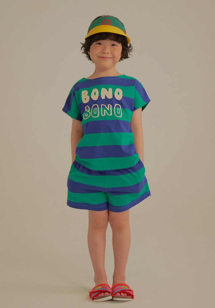 BONO STRIPE COTTON SET_Green&Blue_Kids