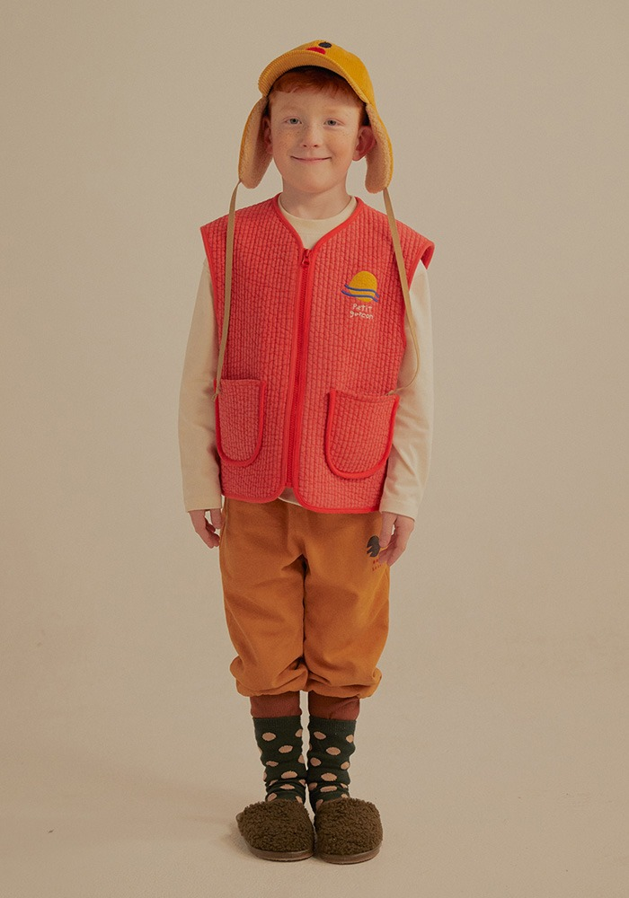 PETIT JELLY QUILT VEST_Red_Kids