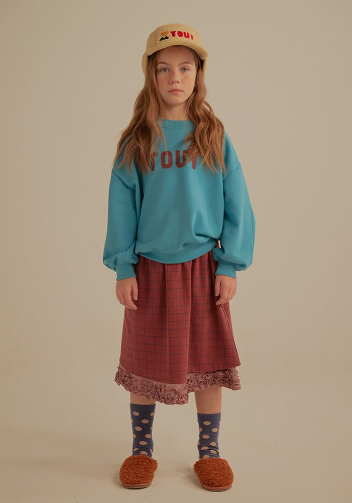 COTTON FRILL SKIRT_Burgundy_Kids