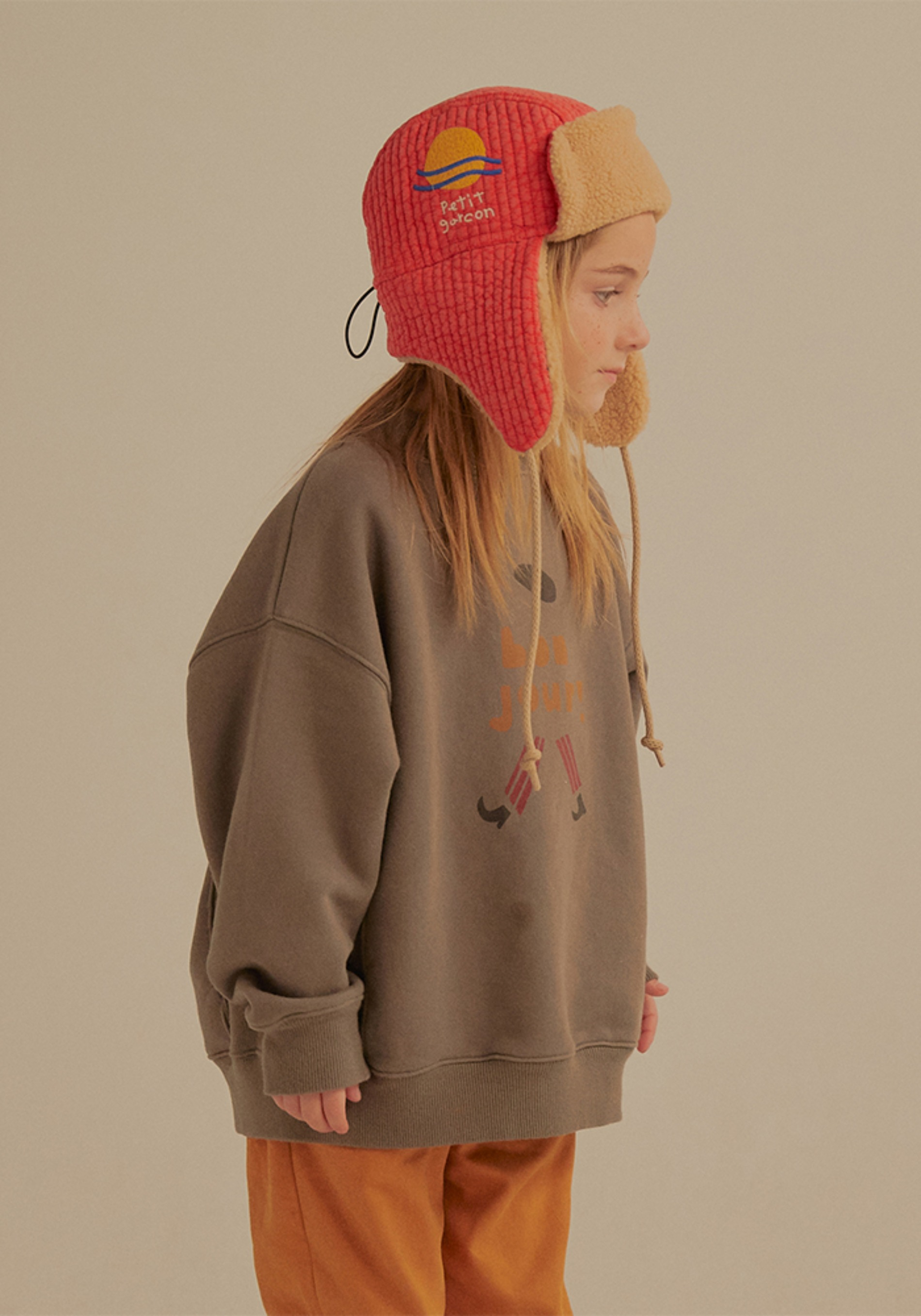 SHEARLING EARFLAP CAP_Red