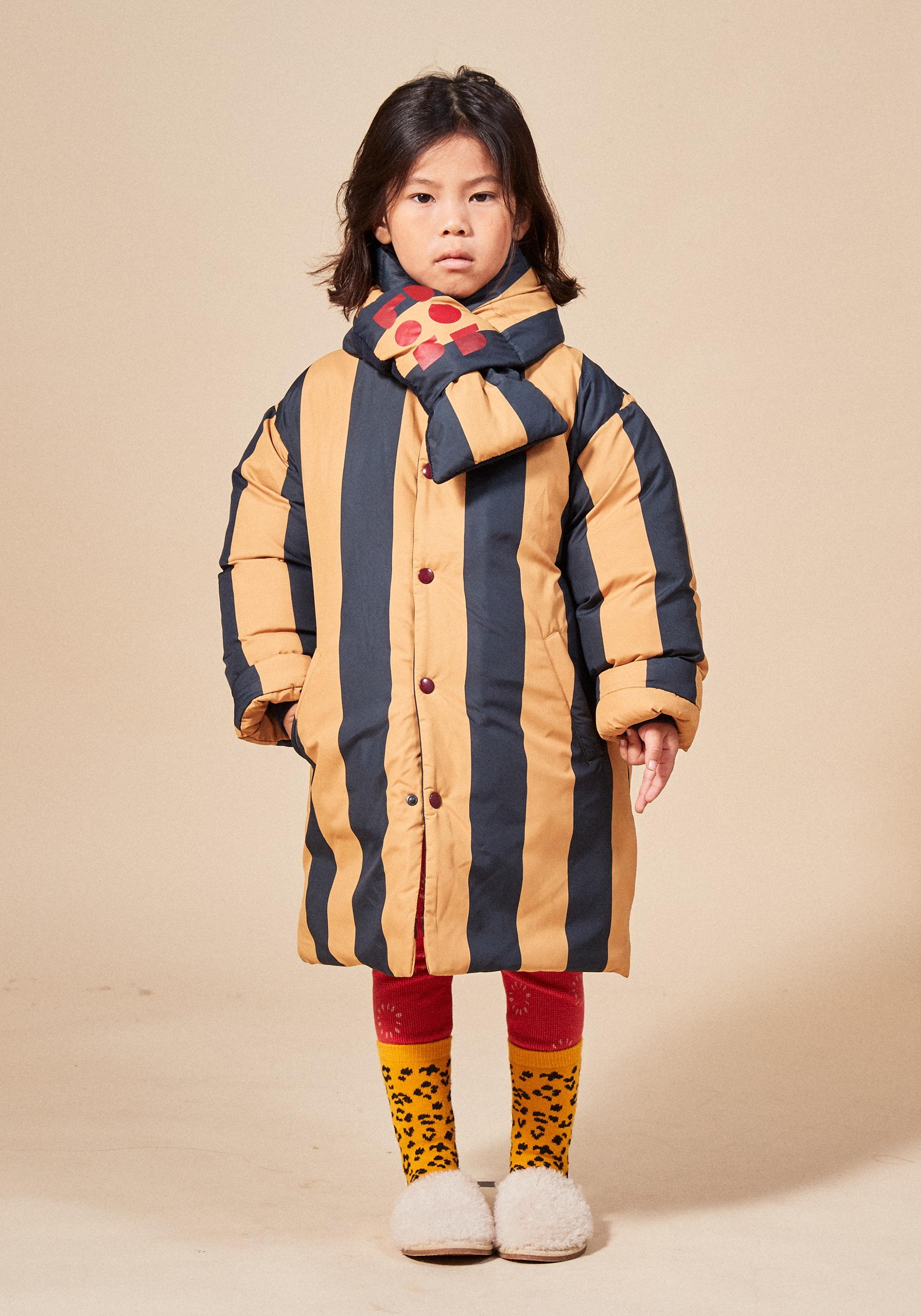 STRIPE PADDING MAC COAT