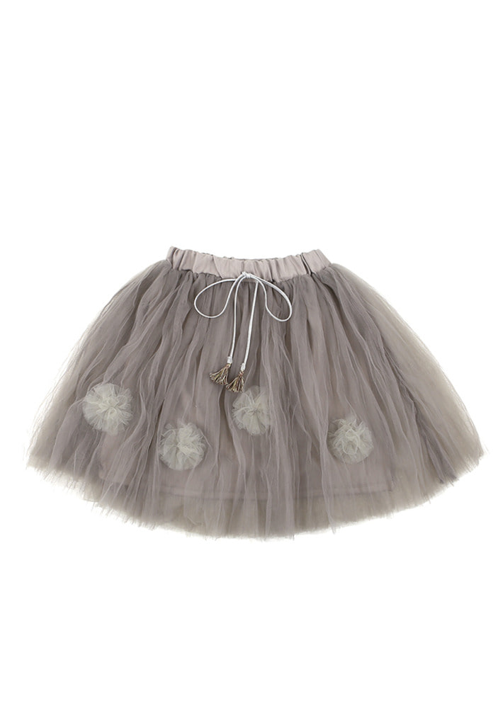 Flower Tutu Skirt_Grey