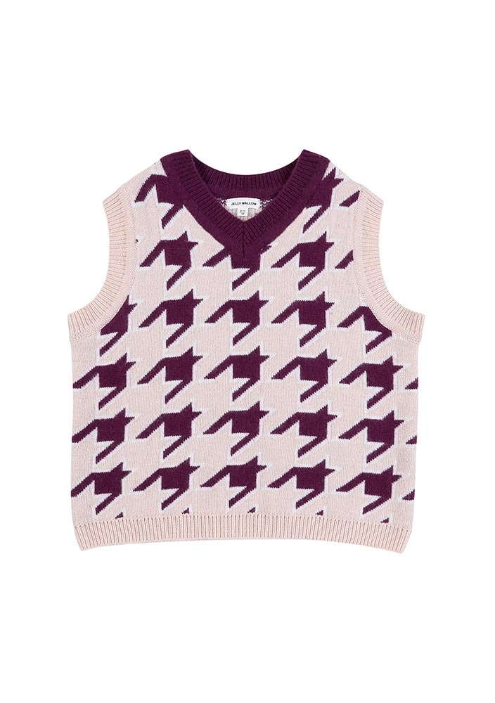 Hound Tooth Check Knit Vest