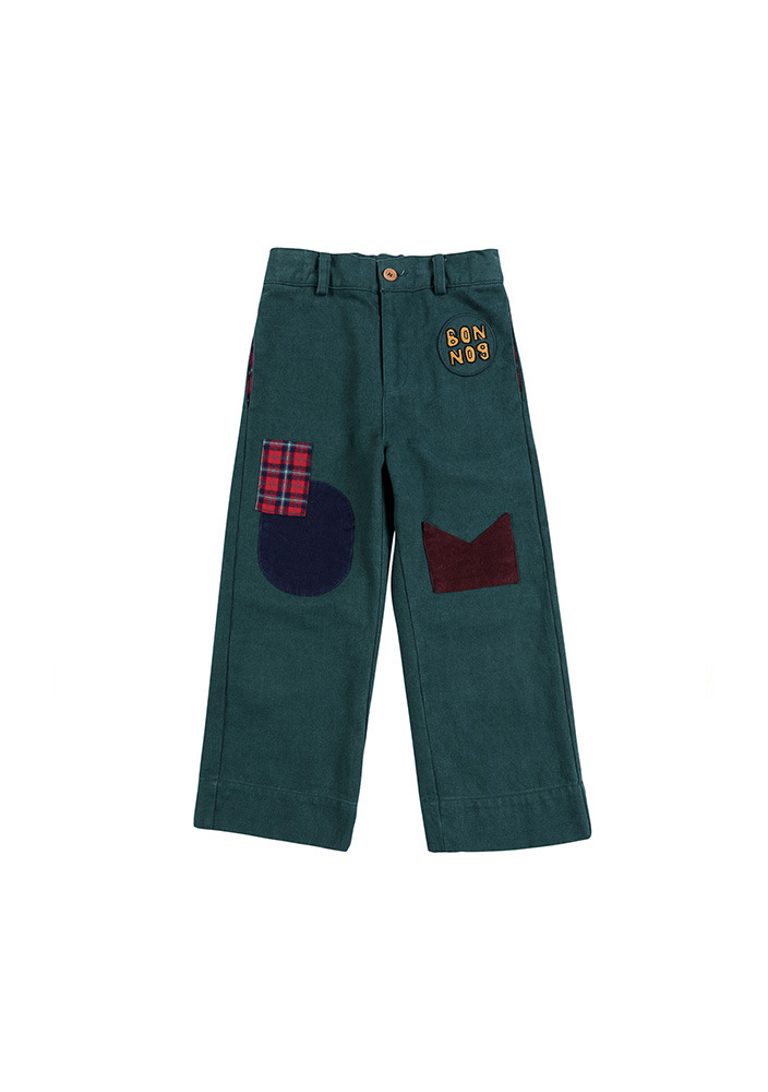 Patch Cotton Pants_Green_Kids_#2
