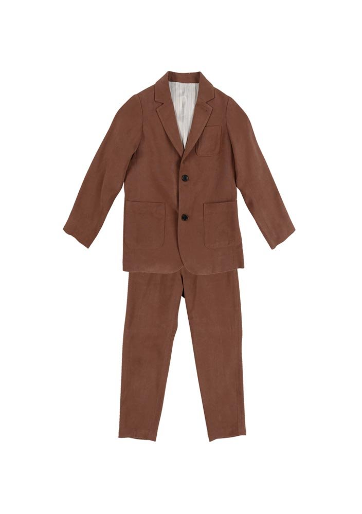 Tencel Single Breasted Suit_Kids_Brown_#2