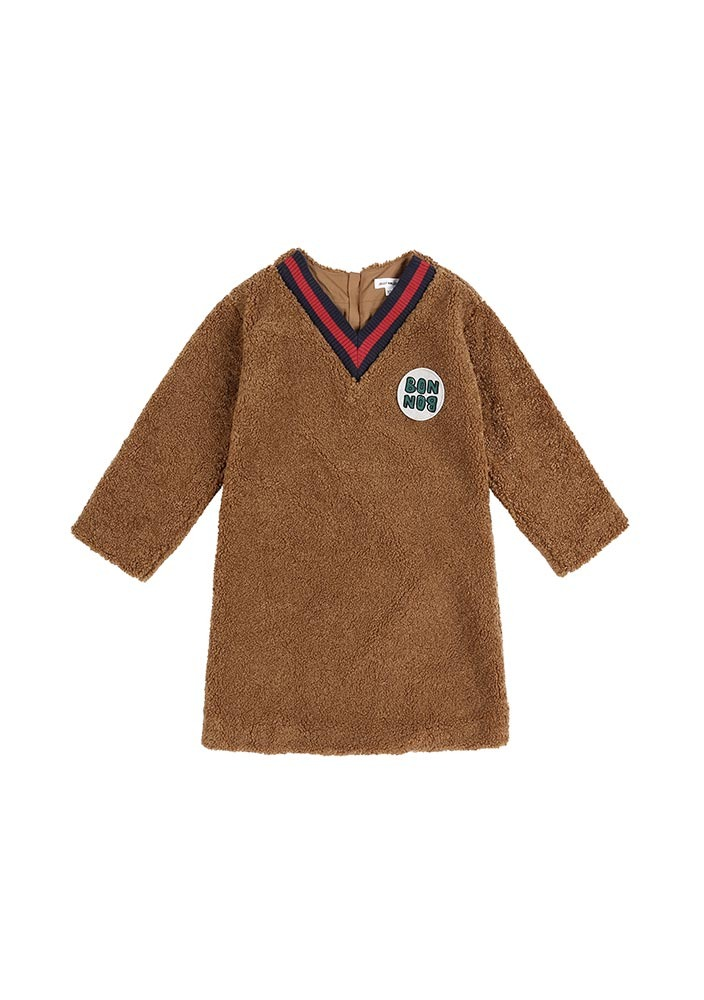 BONBON Shearling Dress_Brown_Kids_#3