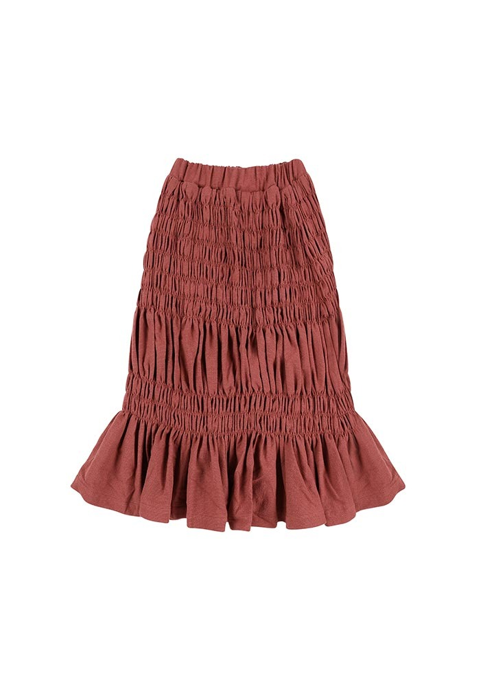 BONBON Shirring Skirt_Red_Kids
