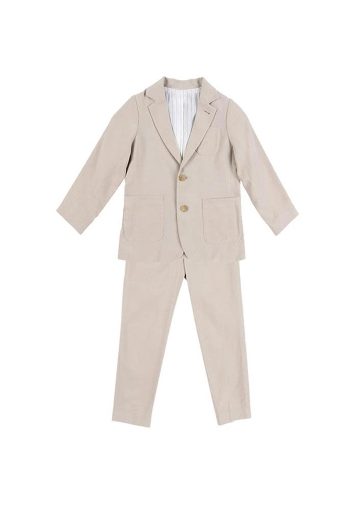 Tencel Single Breasted Suit_Kids_Beige_#2