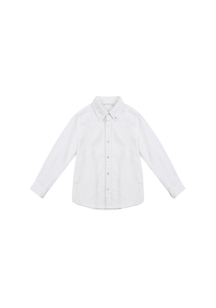 Button-down Cotton Shirt_Kids_White_#2