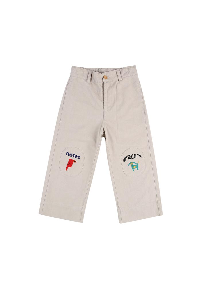 Notes Cotton Ankle Pants_Kids_Beige