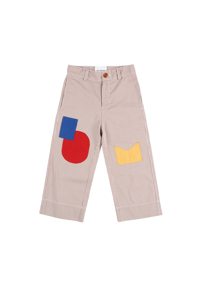 Stripe Cotton Ankle Pants_Kids_Brown