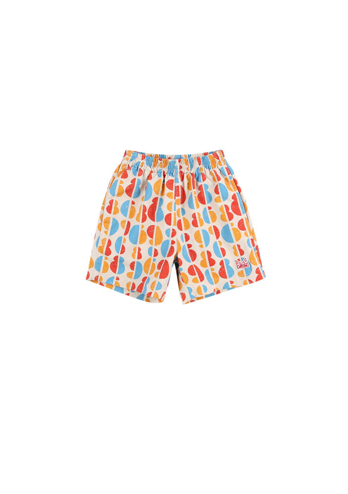 Rainbow Cotton Shorts_Kids_Beige