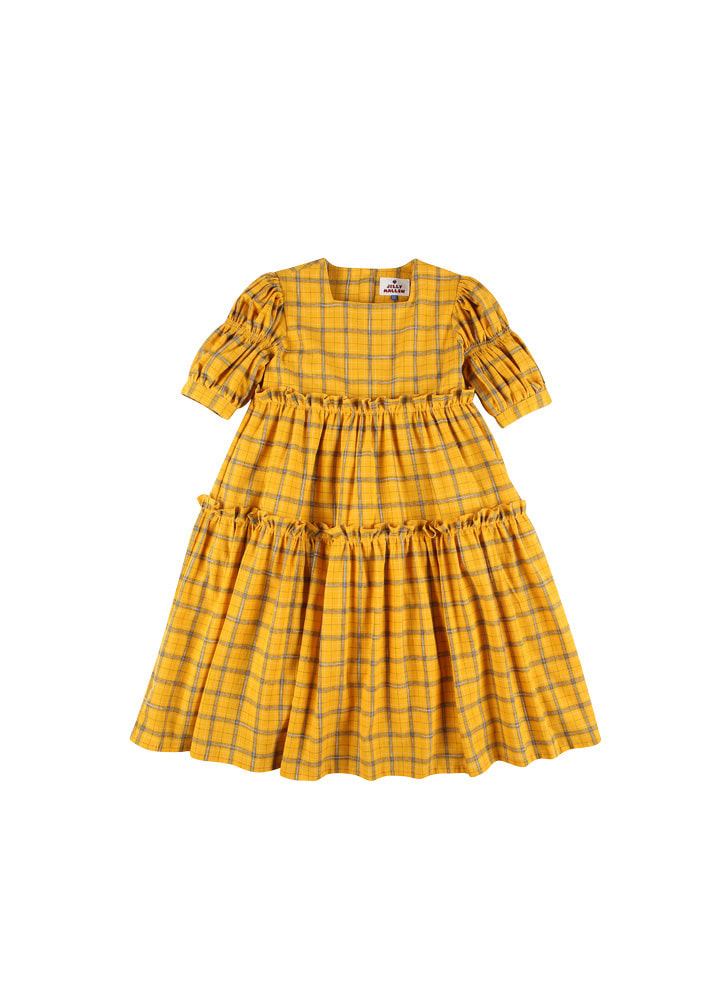 Check balloon dress_Kids_Yellow