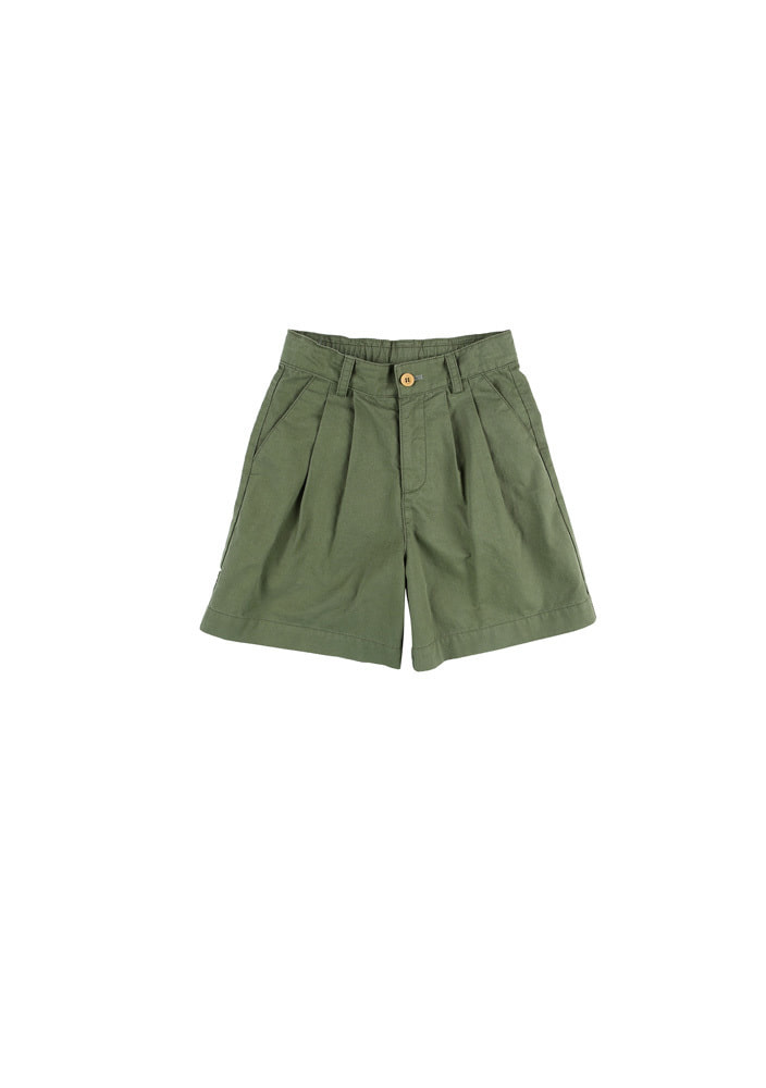 Cotton Blend Two Tucks Shorts_Khaki
