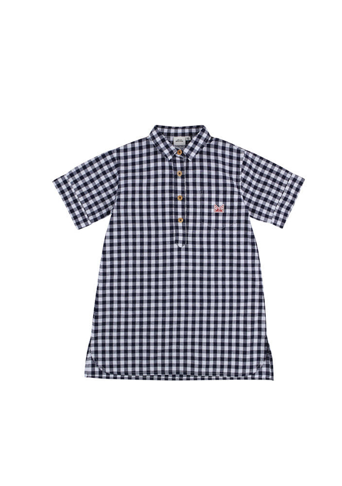 Gingham pullover dress_Kids_Navy