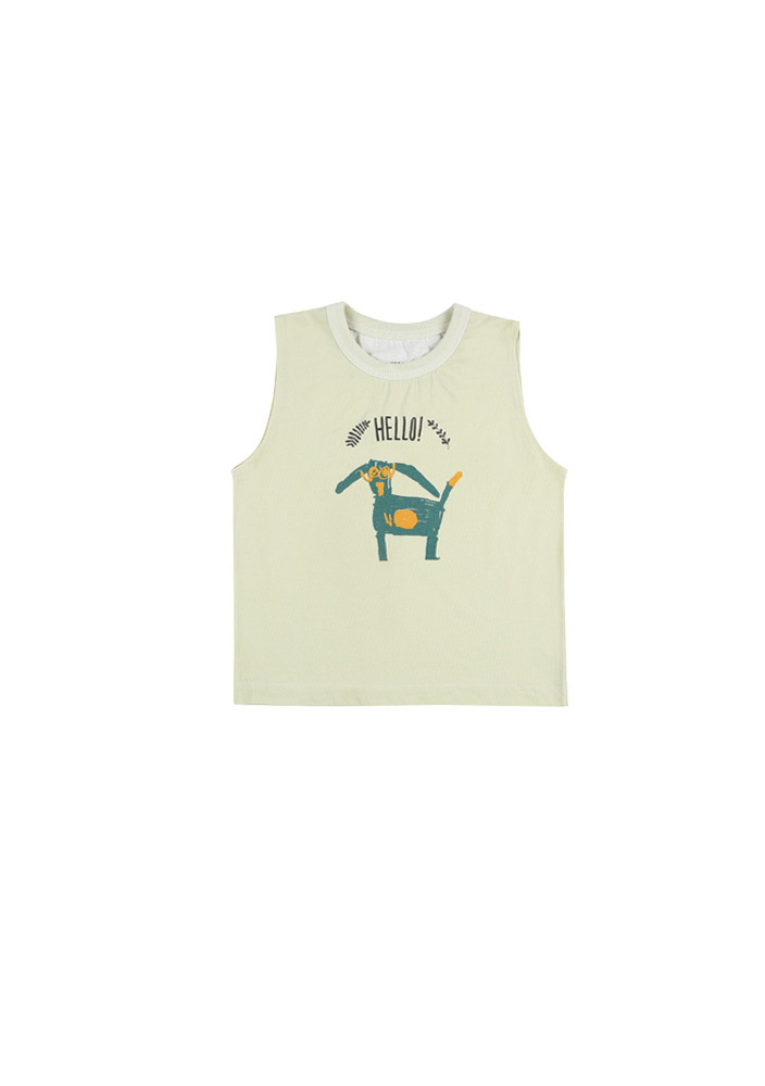 Green Puppy Sleeveless Shirt_Kids