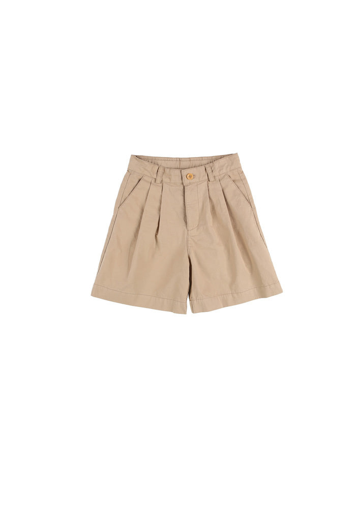 Cotton Blend Two Tucks Shorts_Beige
